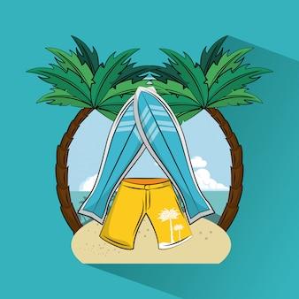 Tropisches surfendes lebensstilthema