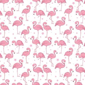 Tropisches trendiges nahtloses muster mit rosa flamingos