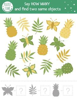 Tropisches zählspiel mit exotischen früchten. tropische mathe-aktivität für kinder im vorschulalter. wie viele objekte arbeitsblatt. pädagogisches rätsel mit niedlichen lustigen bildern.