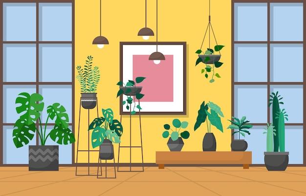 Tropisches zimmerpflanzengrün-dekoratives pflanzeninnenhaus