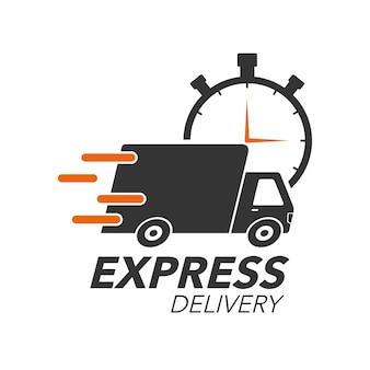 Truck mit stoppuhr-symbol für service, bestellung, schnelle, kostenlose und weltweite versand. modernes design.