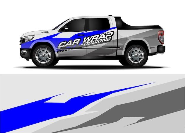 Truck wrap design-konzept für vinyl sticker branding Premium Vektoren