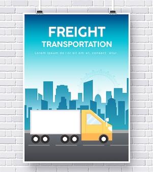 Trucker auf straße illustration auf backsteinmauer hintergrund konzept design