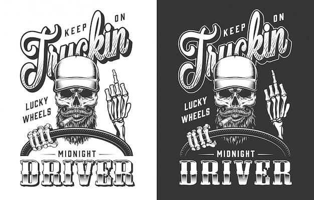 Trucker emblem mit schädel