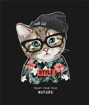 True nature slogan mit süßer katze im hawaiihemd und strickmütze auf schwarz