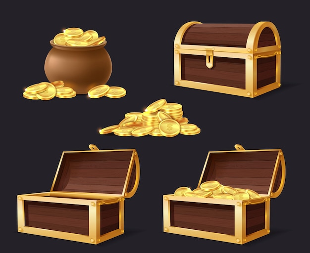 Truhe mit goldenen münzen. truhe, tasche und stapel mit gold, geschlossene und geöffnete leere truhen für spieleanwendungen cartoon isoliertes set