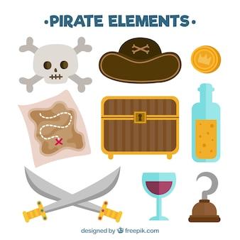 Truhe mit karte und elemente von piraten in flachem design