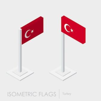 Trurkey flagge isometrischen stil, 3d-stil