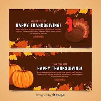Truthahn thanksgiving tag banner-set