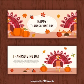 Truthahn thanksgiving tag banner-set
