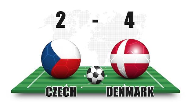 Tschechisch gegen dänemark. fußball mit nationalflaggenmuster auf perspektive fußballplatz. gepunkteter weltkartenhintergrund. fußballspielergebnis und anzeigetafel. sportpokal-turnier. 3d-vektordesign.