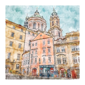 Tschechische republik aquarell skizze hand gezeichnete illustration