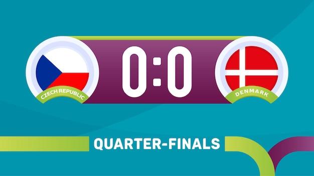 Tschechische republik gegen dänemark match-vektor-illustration fußball-meisterschaft 2020