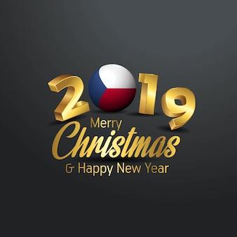Tschechische republik-markierungsfahne 2019 frohe weihnacht-typografie