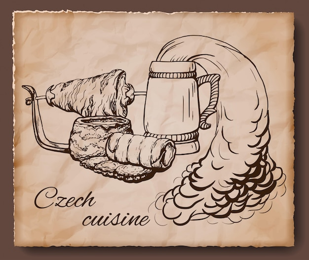 Tschechische weinleseillustration