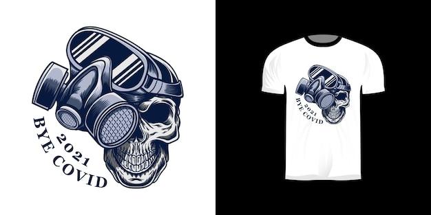 Tschüss covid t-shirt design mit totenkopf und maske illustration