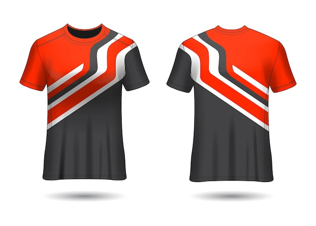 Tshirt sport design racing trikot für vereinsuniform vorder- und rückansicht Premium Vektoren