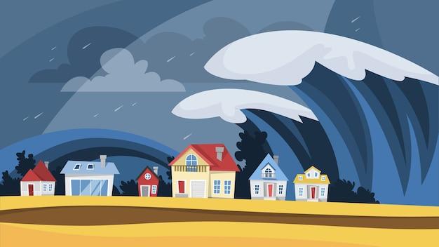Tsunami-katastrophe. große wellen bedecken das dorf