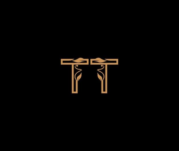Tt buchstaben lineare form luxus gedeiht ornament logo