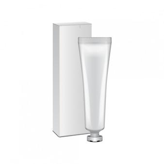 Tube mit weißer box - creme, gel, hautpflege, zahnpasta. bereit für deine. weiße verpackungsschablone.