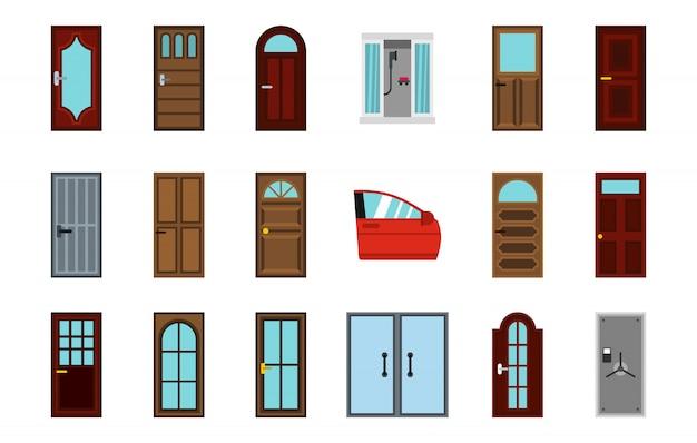 Tür-icon-set. flacher satz der türvektor-ikonensammlung lokalisiert
