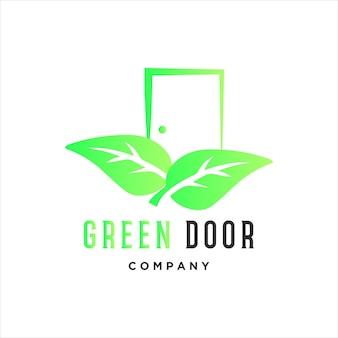 Tür, logo, vektor, grüne tür, mit, zwei, blatt, symbol