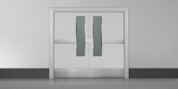 Türen im leeren innenraum des laborküchenkrankenhauses oder des schulkorridors