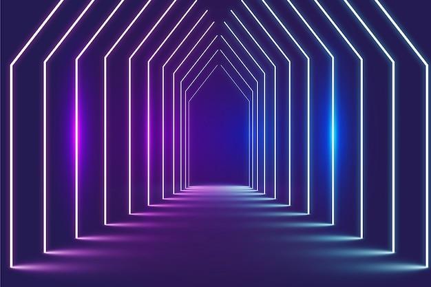 Türen im perspektivischen abstrakten neonlichthintergrund Kostenlosen Vektoren