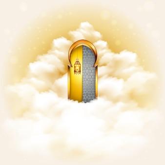 Türen zum paradies-konzept-hintergrund