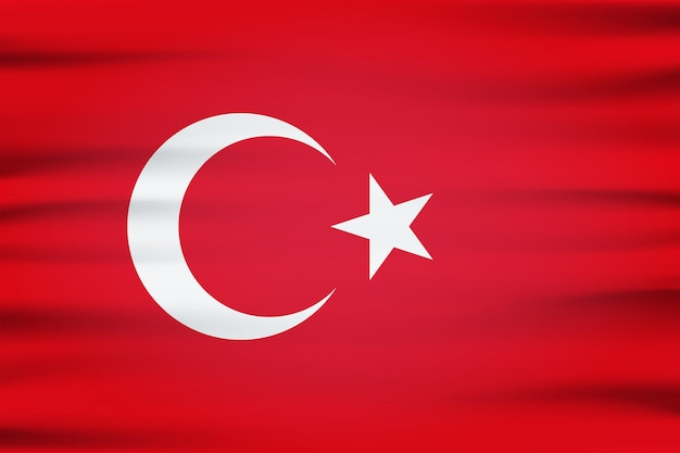 Türkei-flagge 3d von weißem halbmond und stern auf rotem hintergrund. türkische republik europäisches land offizielle nationalflagge weht mit gebogenem stoff oder wellenvektortextur