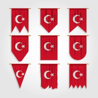 Türkei flagge in verschiedenen formen