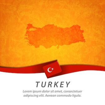 Türkei-flagge mit zentraler karte