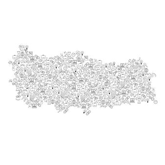 Türkei-karte aus schwarzem muster stellten ikonen des seo-analysekonzepts oder -entwicklung, geschäft vektor-illustration.