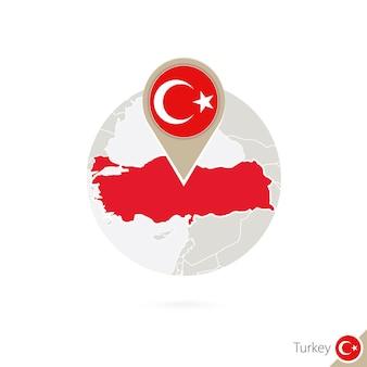 Türkei-karte und flagge im kreis. karte der türkei, türkei-flaggenstift. karte der türkei im stil der welt. vektor-illustration.