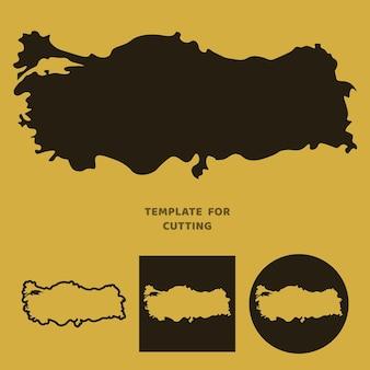 Türkei karte vorlage zum laserschneiden, holzschnitzen, scherenschnitt. silhouetten zum schneiden. türkei karte vektorschablone.