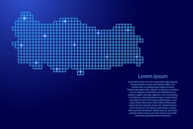 Türkei-kartensilhouette aus blauen mosaikstrukturquadraten und leuchtenden sternen. vektor-illustration.