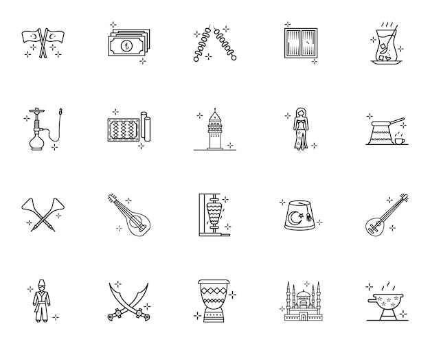 Türkei kultur und traditionen skizzieren icons set