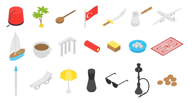 Türkei land icons set