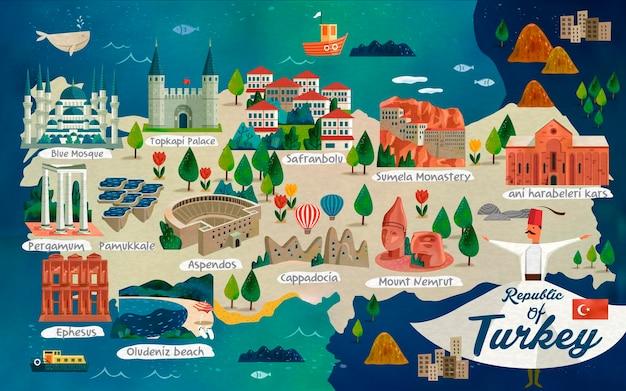 Türkei-reisekarte und türkische wörter für baumwollschloss auf der linken seite, safranstadt in der mitte und ruinen von ani auf der rechten seite