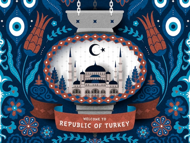Türkei-reiseplakat mit türkischem dekorativem muster und moscheeillustration