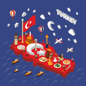 Türkei-touristische anziehungskräfte isometrisches karten-plakat