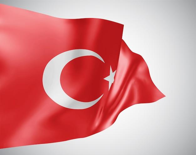 Türkei, vektorflagge mit wellen und kurven im wind auf weißem hintergrund.