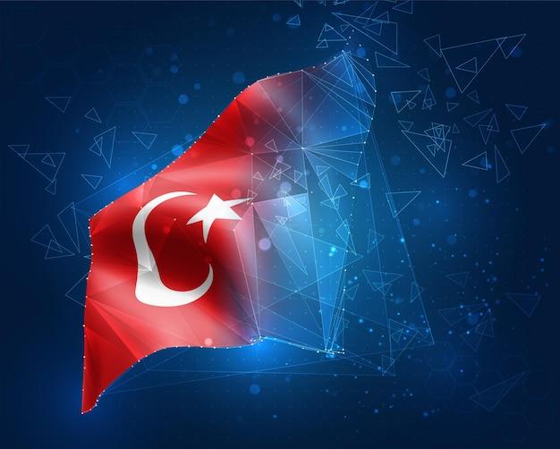 Türkei, vektorflagge, virtuelles abstraktes 3d-objekt aus dreieckigen polygonen auf blauem hintergrund