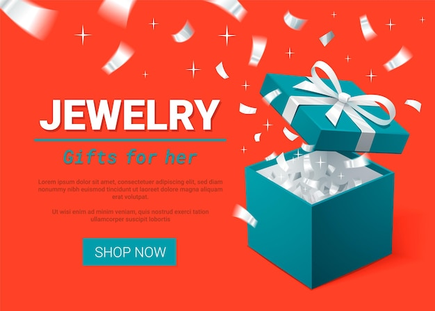 Türkis geschenkbox und silberne konfetti