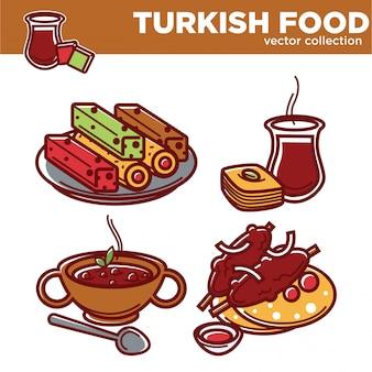 Türkische lebensmittelvektorsammlung geschmackvolle exotische teller