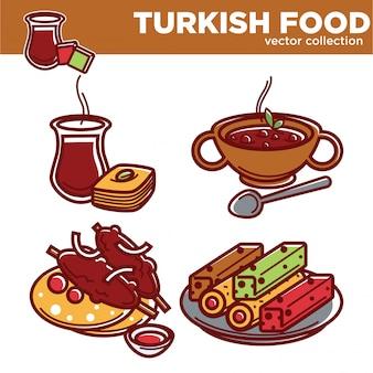 Türkische lebensmittelvektorsammlung mit geschmackvollen exotischen tellern