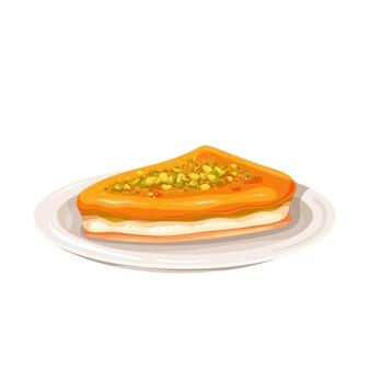Türkisches dessert kunefe oder kunafa, kadayif-vektorillustration. türkisches traditionelles dessert.