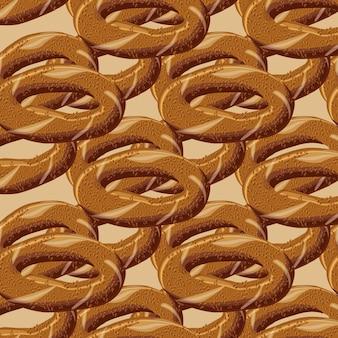 Türkisches traditionelles bagel simit nahtloses muster.