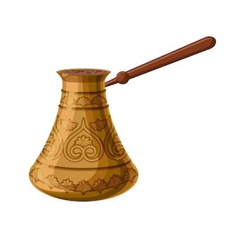 Türkisches traditionelles verziertes kupfer cezve