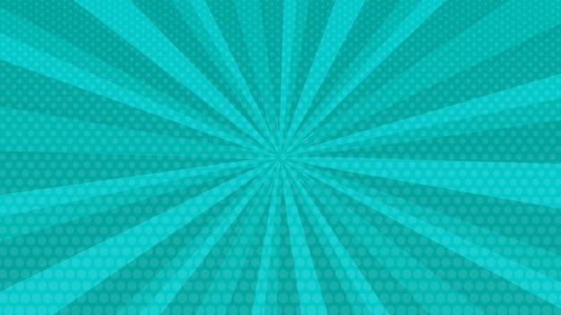 Türkisfarbener comic-seitenhintergrund im pop-art-stil mit leerem raum. vorlage mit strahlen, punkten und halbtoneffekt-textur. vektor-illustration